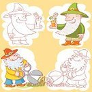 Garden Gnome,Doodle,Garden Pruner,Gardening,Nature,Vector,Vegetable,Ilustration,Growth,Leaf,One Person,Grandfather,Clothing,Smiling,Cheerful,Fun,Occupation,Elf,People,Landscape,Hat,Summer,Small,Fantasy,Cartoon,Cute,Flower,Symbol,Grass,Land,Manual Worker,Equipment