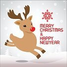 Reindeer,Snow,illustrated,Christmas,Computer Graphic,Clip Art,Red,Deer,cartooned,Human Face,Snowflake,Image,Ilustration,cartoonish,nosed,Shiny