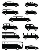 Car,Limousine,Outline,Silhouette,Symbol,Bus,Mode of Transport,Transportation,Rubber,Space Shuttle,Glass - Material,Driving,Small,Vehicle Hood,Business,Modern,Technology,Street,Traffic,Wheel,Vector,White,Design,Van - Vehicle,Hatchback,Covered Wagon,Electric Lamp,Engine,Journey,Vehicle Door,Road,Travel,Ilustration,Isolated,Side View,People,Vehicle Seat,Semi-Truck,Passenger,Land Vehicle,Set,Mini Van,Window,Cart,Black Color