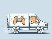Land Vehicle,Package,Cargo Container,Freight Transportation,24 Hrs,Urgency,Technology,Playstation,Speed,Delivering,Service,Order,Control,Gamepad,Multimedia,Drawing - Activity,Car,Merchandise,Symbol,Computer Graphic,Gamification