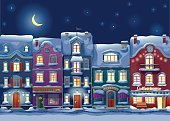 Snow,Street,Store,Building Exterior,Residential Structure,Christmas,Winter,House,Urban Scene,Bakery,Street Light,Lighting Equipment,Attic,Dusk,Illuminated,Dark,Cold - Termperature,Frozen,Weather,Twilight,Year,Window,Moon,Vector,Town,Blue,Star - Space,Midnight,Night,Season,History,Cityscape,City,Roof,Architecture,Sky,Apartment,New,Door,Frost,Holiday,Obsolete,Humor