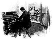 Piano,Victorian Style,Women,Men,19th Century Style,Musician,Music,Suit,Traditional Clothing,Evening Ball,Painted Image,Non-Urban Scene,Isolated,Isolated On White,Old,Engraved Image,Fine Art Portrait,Sketch,Print,Art,Classical Concert,Dancing,Playing,Elegance,Pianist,People,Piano Bar,Fashion,Classical Style,Retro Revival,Ilustration,Black And White,Portrait,Urban Scene,Obsolete,Drawing - Art Product,Antique,Old-fashioned,Cultures,History