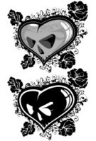 Human Skull,Heart Shape,Gothic Style,Rose - Flower,Love,Valentine's Day - Holiday,Dirty,Shape,Vector,Flower,Grunge,Black Color,Sign,Death,Dead Plant,Dead Person,Floral Pattern,Reflection,Danger,Ornate,Symbol,Ink,Illustrations And Vector Art,Risk,Vector Icons,Vector Ornaments,Vector Florals