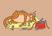 Food,Mouse,Rodent,Laziness,Male Cat,Grumman F-14,Vector,Caricature,Humor,Domestic Cat,Sloth,Thick,Sleeping,nourishing,Cartoon,travesty,Ginger Cat,Prepared Fish,Overweight,Sausage,Fish,slothful