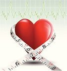 Tape Measure,Heart Shape,Healthy Lifestyle,Pulse Trace,Healthy Eating,Healthcare And Medicine,Listening to Heartbeat,Red