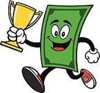 Greed,Green Color,Concepts And Ideas,Ilustration,Dough,Characters,Mascot,First Place,Success,Cup,Cartoon,greenbacks,Vector,Currency,Trophy,Winning,Award,US Paper Currency,One Dollar Bill,Bringing Home The Bacon,Wealth,Paper Currency,Dollar,Running