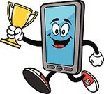 Portable Information Device,Exercising,Sport,Computer Monitor,Technology,Information Medium,Mobility,Telephone,Mobile Phone,Winning,Vector,Award,Jogging,Cartoon,Characters,Competitive Sport,Victory,Smart Phone,Jumping,Cup,Mascot,Communication,Electrical Equipment,Equipment,Data,Retail Display,Ilustration,Connection,Digital Display,Trophy,Sports Race,Running,Athlete,First Place,Success,Sprinting,Touch Screen