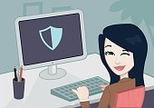 Desk,Professional Occupation,Businesswoman,Backgrounds,Ilustration,Vector,Order,Business,Women,Jacket,Office Interior,Security,Safety,Password,Lock,China - East Asia,Desktop PC,Japan,Computer