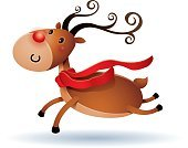 Rudolph The Red-nosed Reindeer,Ilustration,Red,Vector,Copy Space,Winter,Cartoon,Cute,Animal Nose,Flying,Reindeer,Christmas,Isolated,Deer,Animal,Jumping,Running,Joy