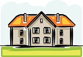 House,Mansion,Rural Scene,Cottage,Facade,Front View,Vector,Roof,Village,Isolated,Built Structure,Real Estate,Building Exterior,Ilustration,Lawn,Outdoors,Non-Urban Scene,Residential District,Window,Architecture And Buildings,Architecture,Clip Art,Homes,Isolated On White,Illustrations And Vector Art,Door,Design,Suburb,Chimney,Front or Back Yard,Image