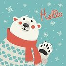 Christmas,Animal,Polar Climate,Scarf,Polar Bear,Holiday,Ilustration,Winter,Hello,Snowflake,December,North,Paintings,Design,White,Cute,Cold - Termperature,Celebration,Nature,Humor,Cheerful,Mammal,Computer Graphic,Gesturing,Happiness,Joy,illustrated,Heart Shape,Snow,Red,Animals In The Wild,Arctic,Painted Image,Season,Vector,Bear,Paw,Cartoon