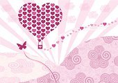Hot Air Balloon,Valentine's Day - Holiday,Heart Shape,Butterfly - Insect,Anniversary,Love,Married,Day,Pattern,Pink Color,Vector,Heterosexual Couple,Ilustration,Mid-Air,Happiness,Backgrounds,Romance,Dating,Grunge,Sunlight,Illustrations And Vector Art,Arts And Entertainment,Celebration,Passion,Silhouette