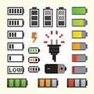 Pixelated,Symbol,Charging,Computer Graphic,Vector,Battery Charger,Battery,Nerd,Full,Red,Technology,Electricity,Collection,Backgrounds,accumulator,Single Object,Thunderstorm,Ilustration,Alkaline