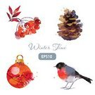 Watercolor Painting,Christmas,Winter,Pine Cone,Retro Revival,Ornate,Pattern,Time,Ilustration,Backgrounds,Bullfinch,Flyer,Season,Painted Image,Set,Holiday,Isolated,Year,Rowanberry,Christmas Ornament,Tree,Greeting,Computer Graphic,Celebration,Tower,Design Element