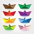 Multi Colored,Creativity,Sheet,Abstract,Vector,Nautical Vessel,Origami