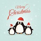 Penguin,Christmas,Snowflake,Winter,Wishing,Holiday,Animal,Vector,December,Ilustration,Cold - Termperature,Backgrounds,Snowing,Greeting,Hat,Season