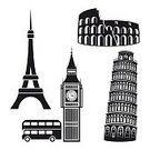 Eiffel Tower,Leaning Tower of Pisa,Black Color,Tower,Pisa,Vector,Stage Theater,Painted Image,Falling,Steeple,Single Object,Built Structure,Capital,Architecture,Old Ruin,Isolated On White,Big Ben,Bus,London - England,England,Italian Culture,Coliseum,Collection,Symbol,Rome - Italy,Italy,Eifel,British Culture,Travel,Cultures,Slanted,Ruined,Capital Cities,Building Exterior,Country - Geographic Area,Obsolete,Famous Place,Art,Spire,Watch,UK,English Culture,Europe,France,French Culture,Isolated,Set,Paris - France,Old