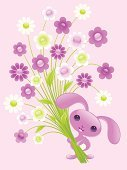 Rabbit - Animal,Easter,Flower,Cartoon,Pets,Animal,Love,Humor,Valentine's Day - Holiday,Congratulating,Cute,Purple,Bouquet,Young Animal,Pink Color,Baby Rabbit,Cheerful,Fun,Wishing,Funky,Day,Beautiful,Happiness,Floral Pattern,Design,Characters,Petal,Holiday,Creativity,Leaf,Animals And Pets,Valentine's Day,Holidays And Celebrations,Fluffy,Green Color,Smiling,Baby Animals,Vector Cartoons,Illustrations And Vector Art,foliagé,Beauty,Romance,Celebration
