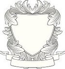 Coat Of Arms,Shield,Baroque Style,Medieval,Vector,Line Art,Rococo Style,Leaf,Blank,1940-1980 Retro-Styled Imagery,Ribbon,Ribbon,Retro Revival,Old-fashioned,Antique,Vector Florals,Vector Backgrounds,Illustrations And Vector Art