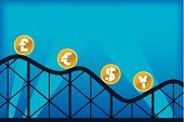 Rollercoaster,Currency,Vector,Finance,Change,Inflation,Home Finances,Euro Symbol,British Currency,European Union Currency,Concepts,Defeat,Global Business,Stock Market,Pound Symbol,Ideas,Coin,Dollar,Japanese Currency,Japanese Yen,Ilustration,Yen Sign,Gold,Illustrations And Vector Art,Business,Dollar Sign,Business Symbols/Metaphors,Blue,Economic Depression,Inspiration,Gold Colored