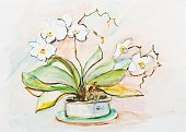 Watercolor Painting,Orchid,Drawing - Activity,Single Flower,Paintings,Plant,Leaf,Ilustration