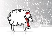 Forest,Sheep,Christmas,Ilustration,Cute,Year,Animal,Vector,Wool,Tree,Backgrounds,Cultures,Calendar,Santa Claus,Pets,Drawing - Activity,Humor,Farm,Winter,Snow,Outline,Decoration,Symbol,2015,Celebration,Fun,Greeting,Hat