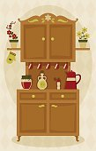 Indoors,Furniture,Image,template,Ilustration,Vector,Mitten,Teapot,Clip Art,Cabinet,Lifestyles,Jar,Cup,Wood - Material,Computer Graphic,Preserves,Domestic Room,Apartment,Real Estate,Sideboard