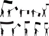 Flag,Holding,Waving,Silhouette,Men,Protest,People,Waving,Back Lit,Protestor,Women,Black Color,Sports Race,Group Of People,Competition,Isolated,Outline,Patriotism,Shadow,Adult,flag waving,Monochrome,nationalistic,Isolated On White,Tracing,Focus on Shadow,Large Group Of People