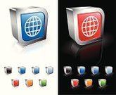 Computer Icon,Symbol,Business,Three-dimensional Shape,Globe - Man Made Object,Square Shape,Finance,Global Finance,Communication,Blue,Global Business,Sphere,Global Communications,Sparse,Reflection,Red,Empty,Modern,template,Shiny,Metal,Green Color,Orange Color