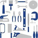 Hand Saw,Circular Saw,Work Tool,Home Improvement,Hammer,Vise Grip,Nail,Paintbrush,Level,Clamp,Rasp,Screwdriver,Icon Set,Staple Gun,Wrench,Construction,Industry,Isolated Objects,Pliers,Blue,Equipment,Illustrations And Vector Art