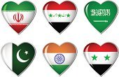 Heart Shape,Flag,Pakistani Flag,Indian Flag,Saudi Arabia,Iranian Flag,Syrian Flag,Pakistan,Saudi Arabian Flag,Syria,National Flag,India,Iraqi Flag,Vector,Middle East,Persian Gulf Countries,Patriotism,Iran,Icon Set,Badge,Iraq,Symbol,No People,Travel Locations,Ilustration,Illustrations And Vector Art,Computer Graphic,Sports And Fitness