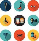 Listening,Crutch,Physical Injury,Prosthetic Equipment,Ilustration,Symbol,Vector,Computer Icon,Sign,Medicine,Capsule,Blue,Shadow,Icon Set,Physical Impairment,Circle,Focus on Shadow,Wheelchair,Human Ear,Yellow,Healthcare And Medicine,Eyeglasses,Blind,Collection,Digital Tablet,Family,Dog,The Set