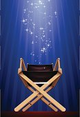 Director's Chair,Movie,Hollywood - California,Spot Lit,Director,Film Industry,Chair,Entertainment,Backgrounds,Star Shape,Vector,Illuminated,Focus - Concept,Determination,Macro,Seat,Wood - Material,Projection,Low Angle View,No People,Important,Illustrations And Vector Art,Arts And Entertainment,Front View,Empty,Cinema,Shiny,Vertical