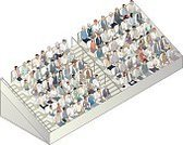 Bleachers,Large Group Of People,Vector,Group Of People,Isometric,Intricacy,Fan,Seat,People,Variation,Crowd,Audience,Spectator,Stadium,Ilustration,Multi-Ethnic Group