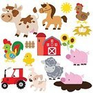Livestock,Hen,Dog,Rooster,Sheep,Horse,Pig,Farm,Animal,Vector,Ilustration,Cow
