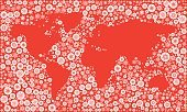 Holiday,World Map,Earth,Elegance,Style,Variation,Cultures,Map,Winter,Cartography,Decoration,counties,Celebration,Snow,Collection,Red Background,Snowflake,New Year's Day,New Year,New Year's Eve,Season
