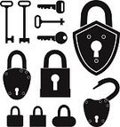 Symbol,Padlock,Black Color,Skeleton Key,Key,House Key,Silhouette,Lock,Design Element,Variation,Collection,Isolated,Set,Vector,Icon Set,Security,Sign,Classic