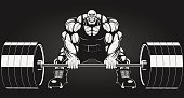 Large,Body Building,Macho,Ilustration,bulk,Exercising,Cute,Construction Worker,Barbell,Dieting,Strength,Sweat,Vector,Smiling,Sport,Men,Steroids,Red