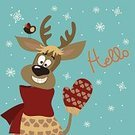 Season,Cold - Termperature,Animal,Celebration,Ilustration,Computer Graphic,Mammal,Fun,Painted Image,Cartoon,Joy,Smiling,illustrated,Heart Shape,Scarf,Nature,Design,North,Paintings,Bird,Vector,Reindeer,Gesturing,Christmas,Holiday,Snow,Humor,Cute,Hello,Winter,Happiness,Mitten,Animals In The Wild,Cheerful,White,Snowflake,December,Red
