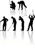 Golf,Silhouette,Vector,Professional Sport,Drive,Vector Icons,Golf,People,Sports And Fitness,Illustrations And Vector Art