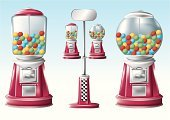 Candy,Machinery,Chewing Gum,Vending Machine,Selling,Chewing,Cute,Sweet Food,Glass - Material,Equipment,Sphere,Glass,Red,Green Color,Multi Colored,Standing,Blue,Yellow,Metal Coin,Objects/Equipment,Illustrations And Vector Art,Concepts And Ideas,Metal Base,60's