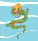 Dragon,China - East Asia,Ancient,Claw,Wisdom,Chinese Culture,Cloud - Sky,Reptile,Green Color,Fantasy,Ilustration,Monster,Furious,Strength,Vector,Sky,Illustrations And Vector Art,Power,Vertical,Concepts And Ideas,Animal,Power,Old,Blue,Anger,Red,Imagination