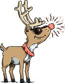 Vector,Cartoon,Ilustration,Mammal,Animal,Rudolph The Red-nosed Reindeer,Reindeer,Bright,Christmas,Smiling,Happiness,Cheerful,Sunglasses,Pet Collar,Standing,Glowing,Friendship