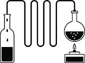 Toxic Substance,Liquid,Industry,Equipment,Research,Science,White Background,White,Glass - Material,Energy,Distillation,Vector,Black Color,Black And White,Ilustration,Bottle,Chemistry,Bunsen Burner,Chemical