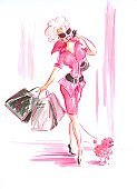 Clothing Store,Dog,Shopping,Women,Watercolor Painting,Fashion,Telephone,Bag,Pink Color,Backgrounds,Dress,Eyeglasses,Sunglasses,Mobile Phone,White,Painted Image,On The Phone,Blond Hair,Paint,Store,Boutique,Hand Colored,Failure,Arts Backgrounds,Arts And Entertainment,Mini Dress,Young Women,Lifestyle