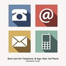 Telephone,Computer Icon,Symbol,Icon Set,Flat,Global Communications,Vector,Communication,Shadow,Multi Colored,At-sign,Sparse,Simplicity,Envelope,Mail,Modern,Long Shadow,Ilustration,Flat Design,colorfull,communication icons,Mobile Phone
