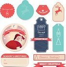 Ribbon,Label,Design,Design Element,Santa Claus,Retro Revival,Set,Vector,Collection,Luggage Tag,Ilustration,Christmas,Banner,Old-fashioned