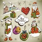 Santa Claus,Gift,Doodle,Branch,Clock,Backgrounds,Snow,Christmas,Snowman,Snowflake,Humor,Greeting