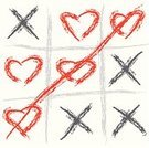 Tic-Tac-Toe,Cross Shape,Leisure Games,Heart Shape,Love,Valentine's Day - Holiday,Weddings,Feelings And Emotions,Valentine's Day,White,Gray,Concepts And Ideas,Holidays And Celebrations