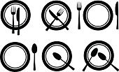 Plate,Food,Crockery,Symbol,Restaurant,Collection,Set,Black And White,Black Color,Group of Objects,Table Knife,Fork,Vector,White,White Background,Ilustration,Breakfast,Dinner,Silverware,Isolated